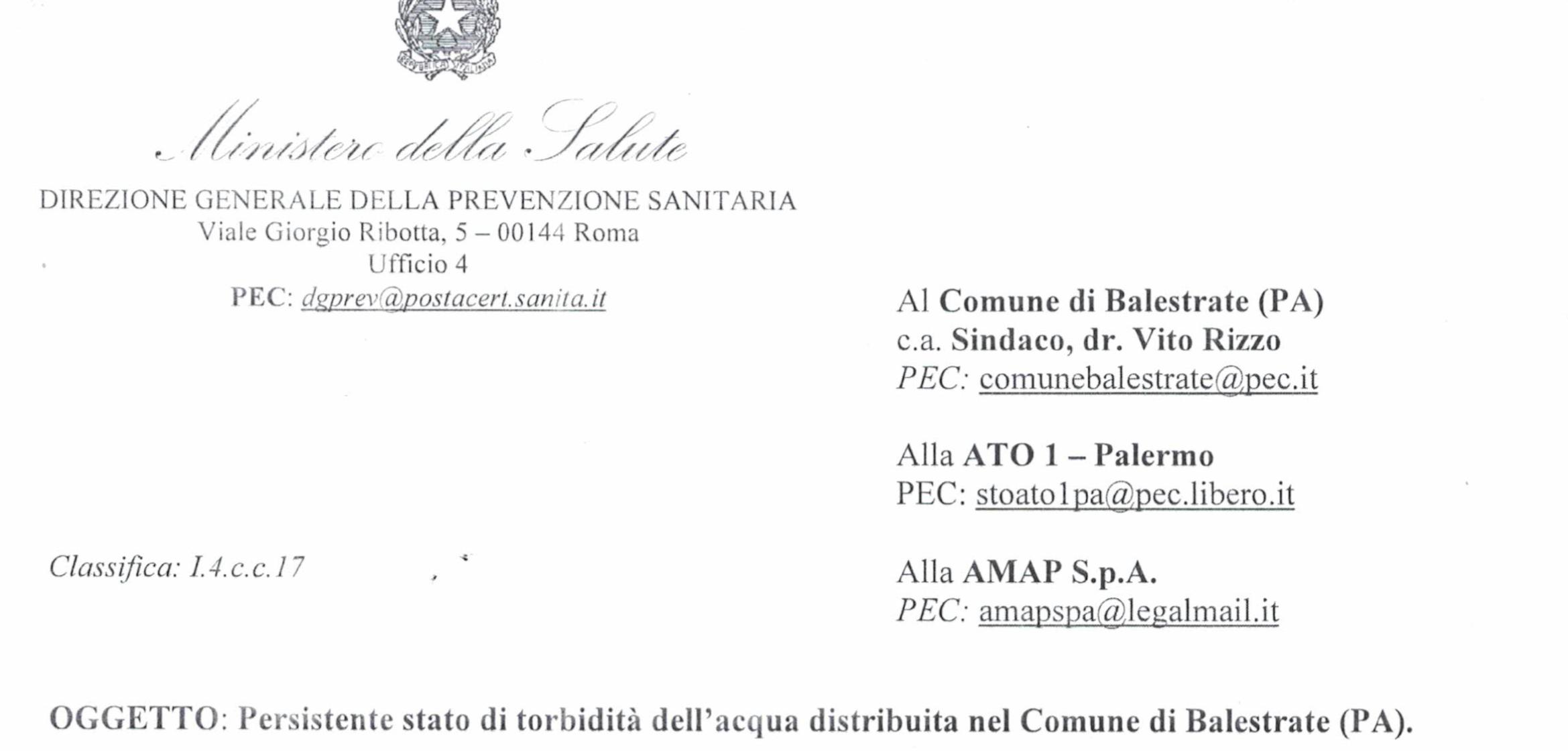 """ESCLUSIVA: Il ministero scrive al Comune di Balestrate: """"Acqua torbida, l'Amap intervenga o sia sanzionata. Pericoli per la salute"""""""