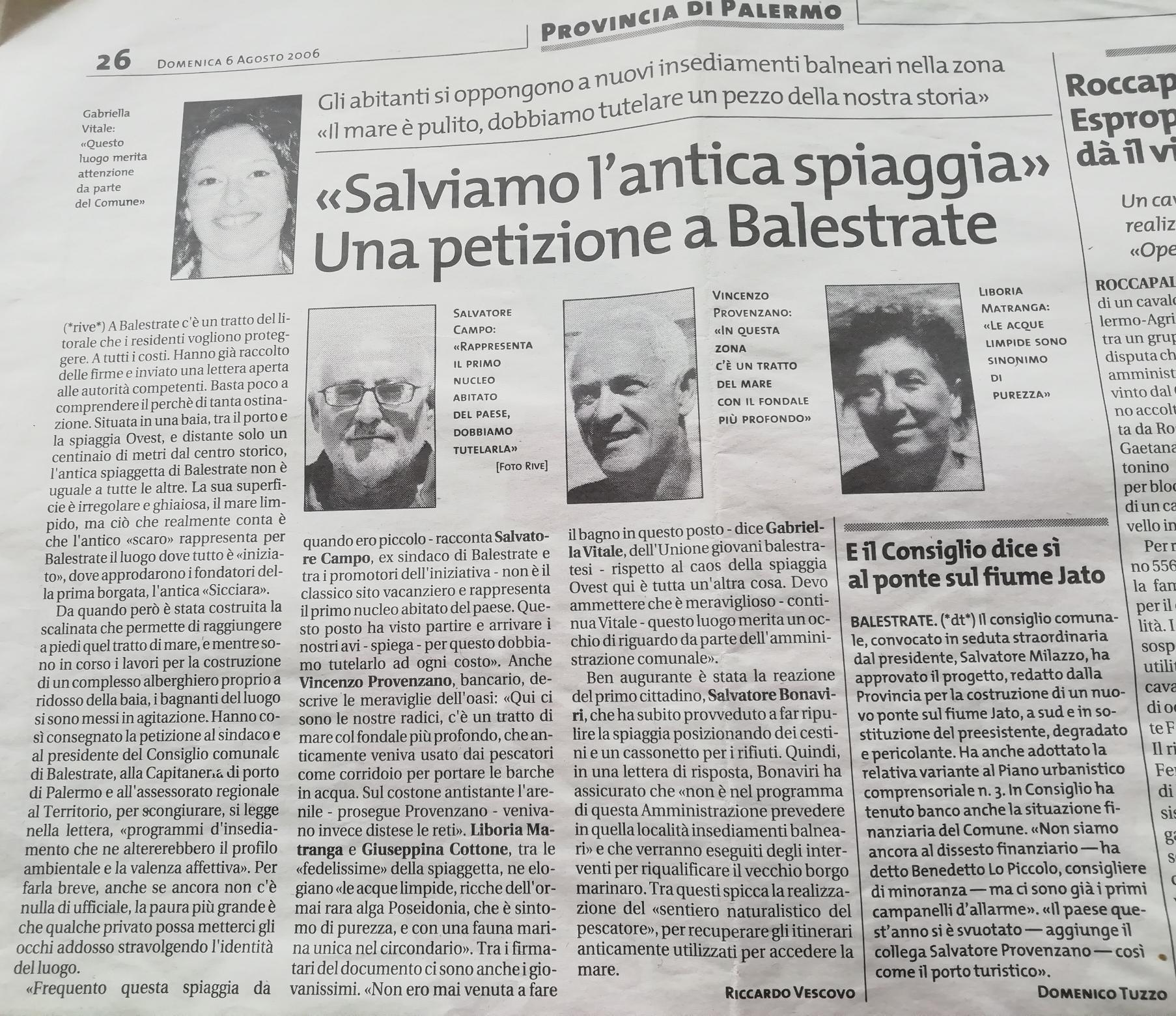 Spiaggia pescatori Balestrate, articolo Giornale di Sicilia